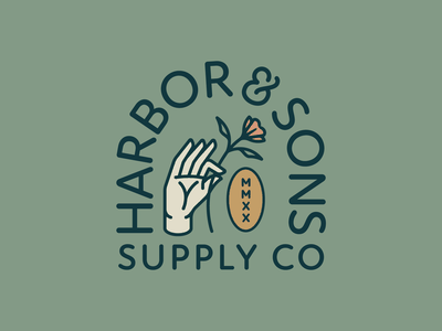 Harbor & Sons Supply Co Pt. VI lockup finger crest seal flowers plants plant flower hands hand typography branding badge 2d vector icon flat logo illustration design