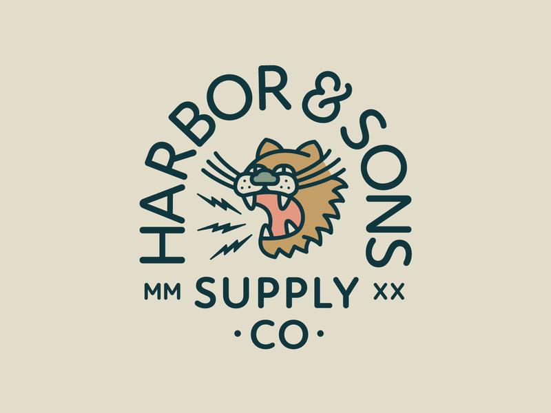 Harbor & Sons Supply Co Pt. VII roar thunder lighting jungle beast animal animals logo animals tigers tiger typography branding badge 2d vector icon flat logo illustration design