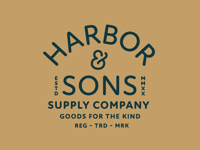 Harbor & Sons Supply Co Pt. VIII print stamp font badge logo seal ampersand typelockup type company supply typography branding badge 2d vector icon flat logo illustration design