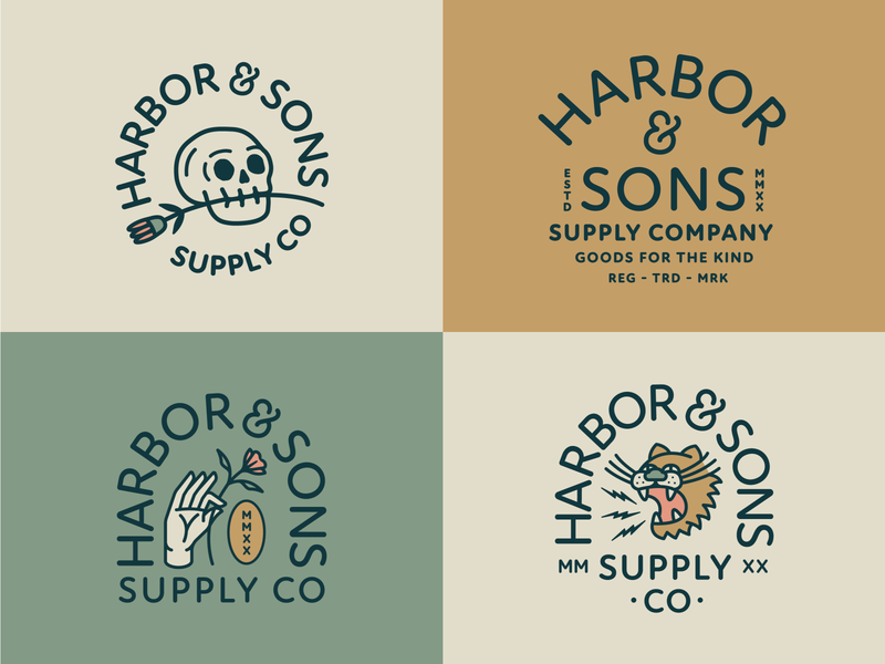 Harbor & Sons Supply Co Pt. X company supply stamp seal plant flower rose skull tiger hand animal typography branding patch badge vector icon logo illustration design