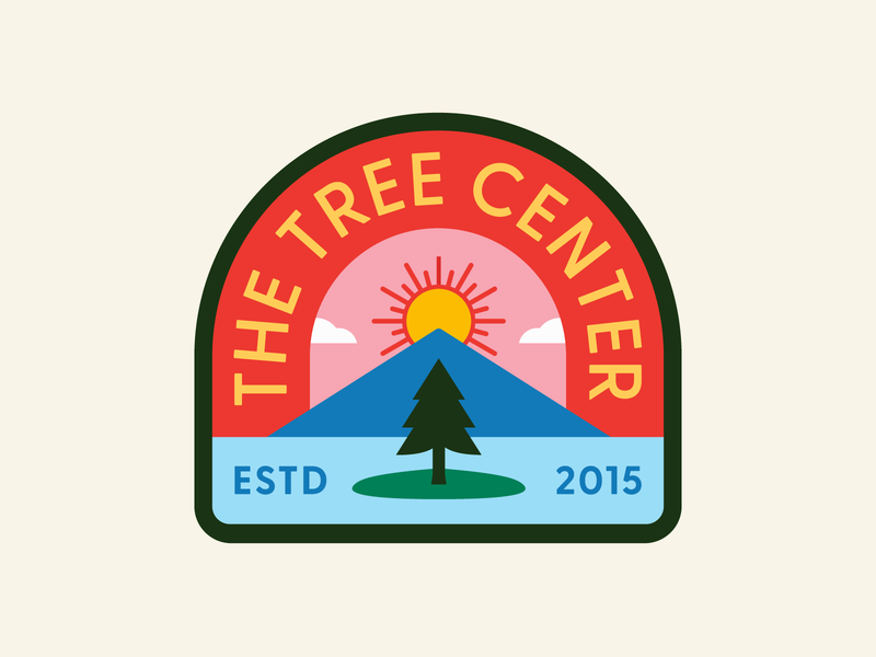 The Tree Center Badge pt.I river pond nature park island landscape cloud mountain lake tree typography sun patch badge vector icon flat logo illustration design
