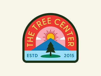The Tree Center Badge pt.I river pond nature park island landscape cloud mountain lake tree typography sun patch badge vector icon flat logo illustration design