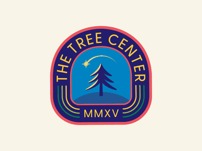 The Tree Center Badge pt.II fall tree logo trees shooting star sky night star tree hat patch typography branding badge 2d vector icon flat logo illustration design