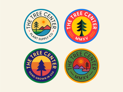 The Tree Center Badge pt. VI landscape trees stream water lake river sun mountain tree stamp seal patch typography branding badge icon flat logo illustration design