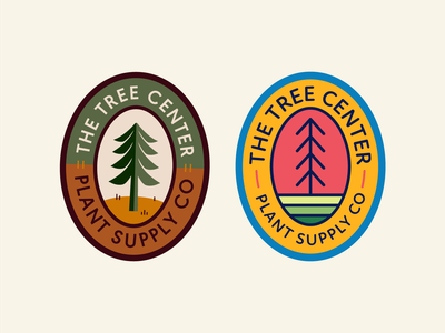 The Tree Center Badge pt. VII color pair hue ground earth landscape nature tree stamp seal patch sun typography vector badge icon flat logo illustration design