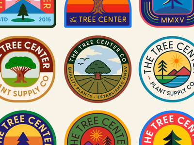 The Tree Center Badge pt. VIII seal clouds sky sunset river landscape nature tree plants plant patch sun typography branding badge vector icon logo illustration design