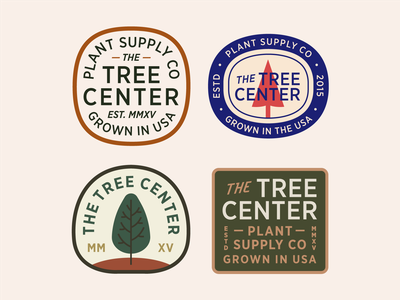 The Tree Center Badge pt. XI shape red nature tree type lockup stamp seal company supply plant patch typography branding badge vector icon flat logo illustration design