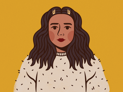 Natalia Smalltazar Portait girl eyes lips yellow texture hair fashion clothing sweater portrait woman women lady nose face vector flat icon illustration design