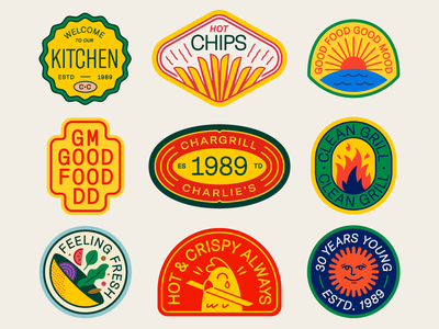 Chargrill Charlie's Badges food color sunrise water sunset badge salad fried kitcen french fries fire chicken flower animal sun typography icon logo illustration design