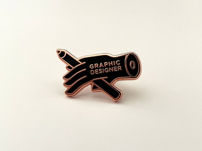 Graphic Designer Enamel Pin shop holiday giveaway gift accessories accessory photography package grid pencil hand packaging enamel pin pin branding badge icon logo illustration design