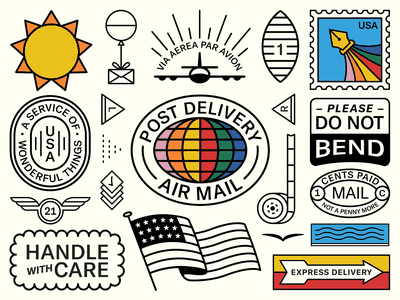 Packaging Tape Pt. II balloon mail tape stickers usa flag air plane pen pen tool stamp earth sun icon logo typography branding badge illustration design