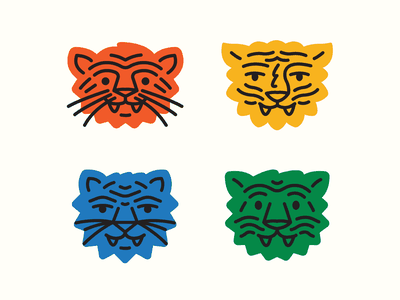 Tiger Project .1 teeth whiskers jungle cat stickers nature head primary colors color animals tigers tiger sticker patch badge icon logo illustration design