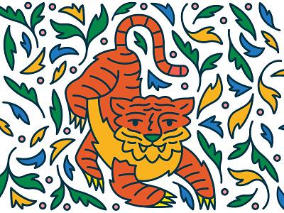 Tiger Project .2 blue yellow colors illustrator icons pattern print background plants leaf plant jungle beast animal tigers tiger icon logo illustration design