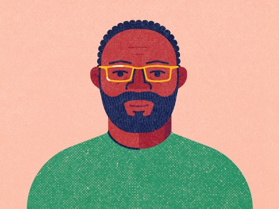 A Man Named Everett colors digital print texture mustache beard hair shirt clothes glasses people human man portrait branding 2d flat icon illustration design