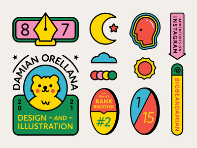 Insta Info Sticker animal illustrator instagram tool pen pen tool cloud business card print card color moon sun head bear branding icon logo illustration design