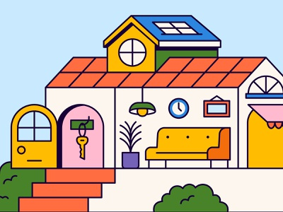 Home Sweet Home stairs window dog sky motion graphics animation lamp couch key door bush plant plants house home sun branding icon illustration design