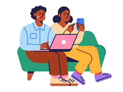 Apply Online pants laptop people phone face hair hand hands shoes clothes shirt home house living room couch human illustrator icon illustration design