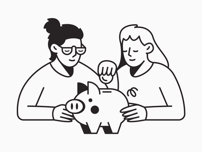 Piggy Bank 3 hand hands hair glasses clothes coin money people woman man character animal pig bank piggy black and white branding illustrator illustration design