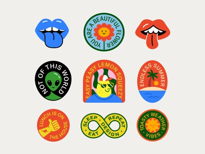From the Gutter patch sticker stickers badge hand thumbs up flowet alien sun glasses lemon palm tree ocean sunset sun mouth lips logo icon illustration design