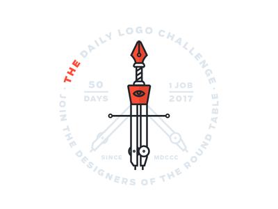"""The Daily Logo Challenege"" Logo logodlc sword compass eyeball eye pentool tool pen logo dailylogochallenge"