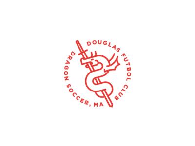Douglas Fc Soccer soccer illustration badge vector design 2d flat branding sword dragon icon dailylogochallenge
