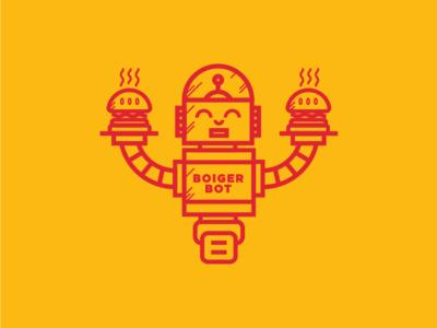 Boiger Bot illustration night vector design 2d flat branding logo robot burger dailylogochallenge