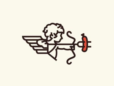 Food Truck Love hotdog foodtruck cupid icon illustration vector design 2d flat branding logo dailylogochallenge