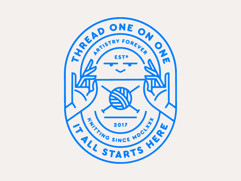 Thread One on one face hands 2d seal thread knitting sewing vector flat design badge logo