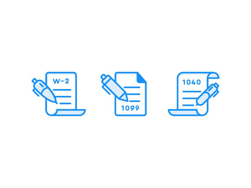 Tax Bobish paper pen blue office flat 2d design vector icon illustration