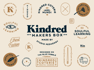 Kindred Badges 4 feather yak flower eye vector needle logo illustration icon flat design badge