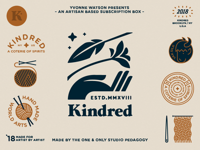Kindred Badges 5 package hands natural plant branding typography animal hand feather yak flower eye vector needle logo illustration icon flat design badge