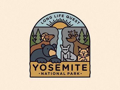 Yosemite National Park bobcat yosemite deer sheep coyote bear tree sun badge icon vector 2d flat illustration design logo