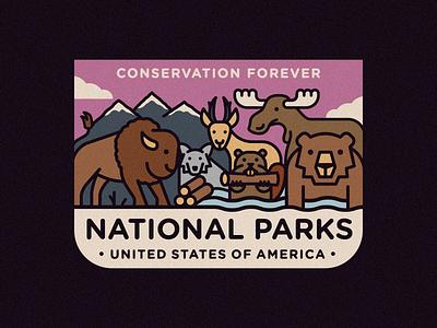 National Parks grand tetons national park moose beaver deer wolf bear bison mountains cloud icon vector 2d flat illustration design logo