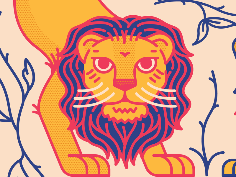 Elizabeth Sage leafs plants bird tiger lion sun icon 2d flat illustration design