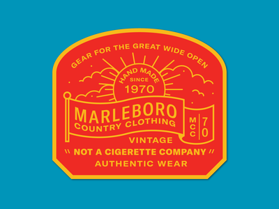 Marlboro Country Wear patch clothing flag red cloud sun badge icon 2d flat illustration design