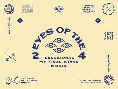 Two Eyes of the Four 4 2 2d flat eye typography branding badge icon vector logo illustration design