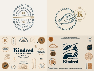 2018 knitting needle yarn yak feather eye flower hand typography branding badge icon vector logo 2d flat illustration design