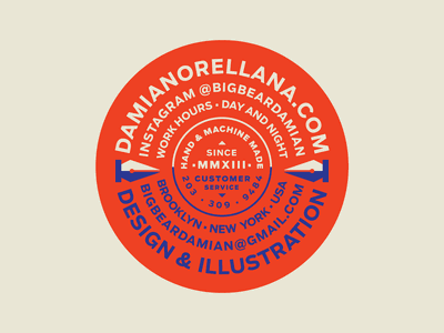 Damian Sticker Badge Work designer iconography logo brand sticker buisness illustraiton pentool pen icon vector 2d flat typography badge illustration design