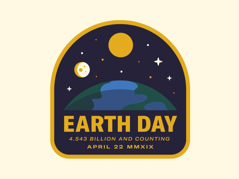Earth Day star space moon earth day earth typography sun badge icon vector logo 2d flat illustration design