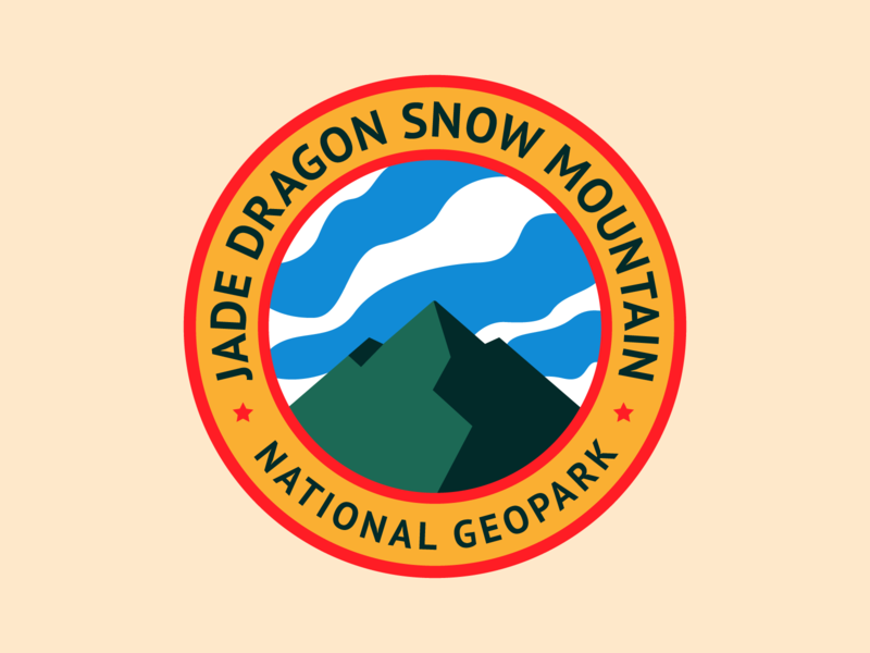 Jade Dragon Snow Mountain. Patch No.8 sky china national park park mountain typography patch cloud branding badge icon vector logo flat illustration design
