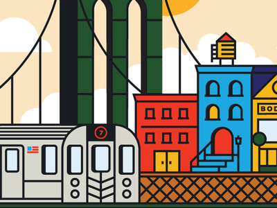 Brooklyn Coaster (1/2) city badge new york city sky architecture ocean brooklyn building bridge subway typography cloud sun icon vector 2d flat illustration design