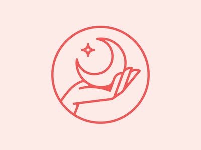 Knead Massage Practice (Part.I) therapy massage hands canada star moon hand pink red patch typography branding badge icon vector logo 2d flat illustration design