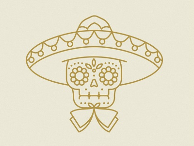 Mariachi Sugar Skull hat ornamental intricate gold earth tones flower sugar skull skull sombrero mariachi mexico branding badge icon vector logo 2d flat illustration design