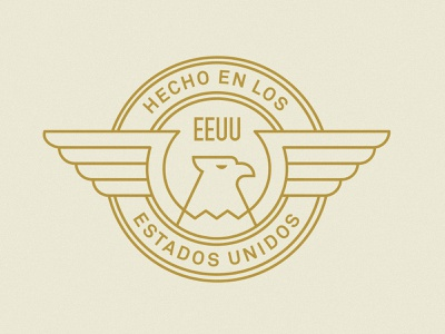 Hecho en los Estados Unidos Badge wings gold bird animal earth tones mexico usa mariachi eagle badge design typography branding badge icon vector logo 2d flat illustration design