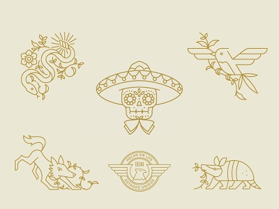 D'Addario Mariachi Strings Illustrations package design rattle snake eagle sugar skull skull snake coyote armadillo bird mexico branding badge icon vector logo 2d flat illustration design