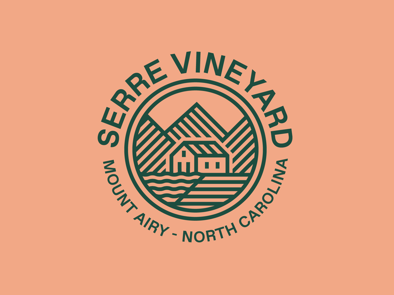 Serre Vineyard  (Pt.I) north carolina nature land farm river water vineyard mountain house greenhouse typography branding badge icon vector logo 2d flat illustration design