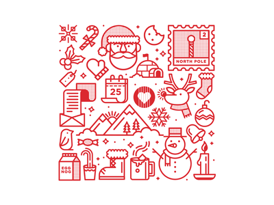 D'Addario Foundation Chocolate Gift Box icon mountain holiday penguin stamp santa deer christmas choclate box package icons tree typography branding badge logo flat illustration design