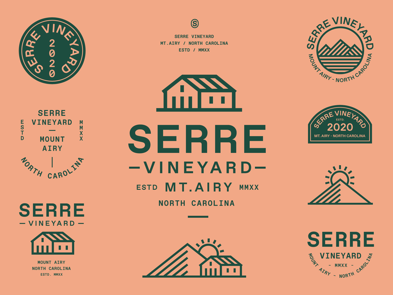 Serre Vineyard (Pt.II) farm brand identity brand system type lockup north carolina sun house greenhouse mountain vineyard typography branding badge icon vector logo flat illustration design
