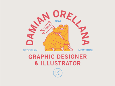 DO Bear Badge blue yellow red patch usa brooklyn banner flag animal bear typography branding badge icon vector logo 2d flat illustration design