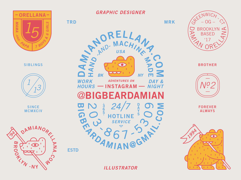 DO Bear Badge Suite family vector new york brooklyn business card banner flag animal bear yellow red patch branding typography badge logo 2d flat illustration design
